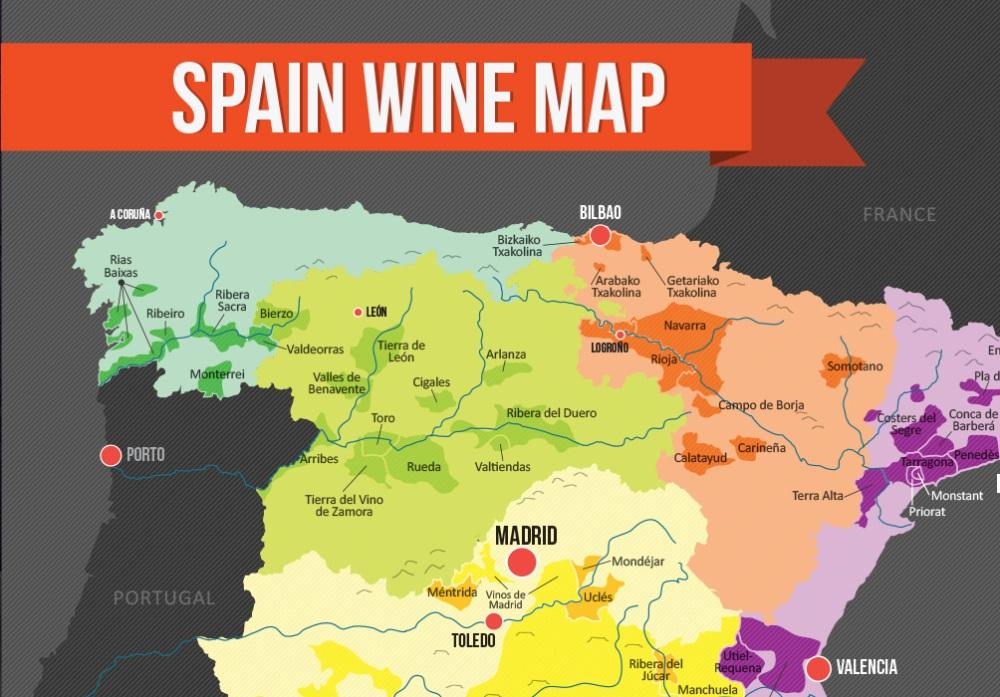 Spain Wine Map