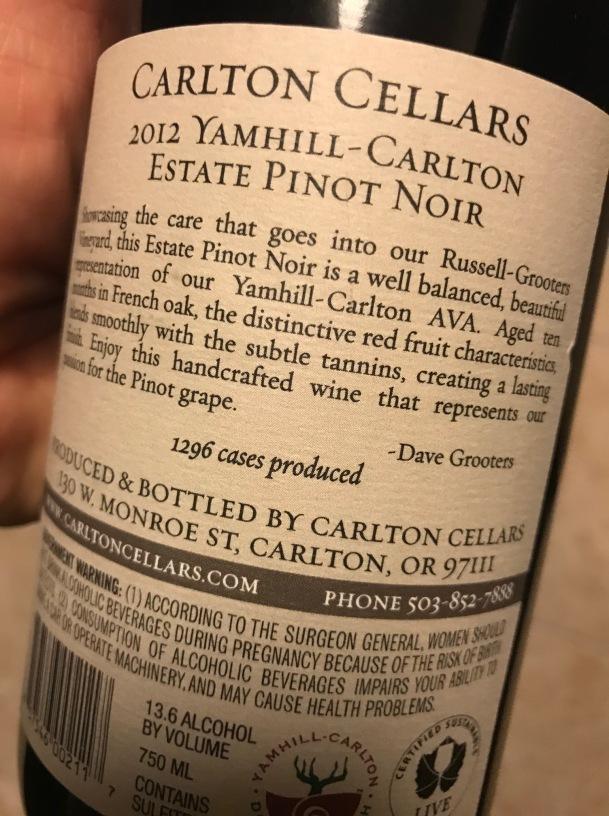 Carlton Pinot Rear Label