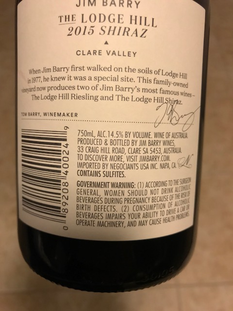 Jim Barry Shiraz Rear
